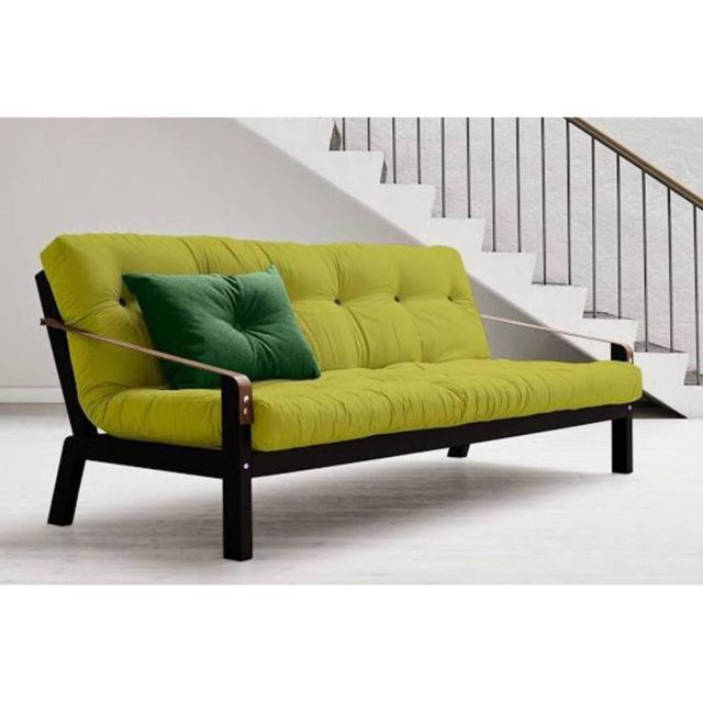 Inside 75 Canapé noir 3/4 places convertible Poetry futon pistache couchage 130 190cm
