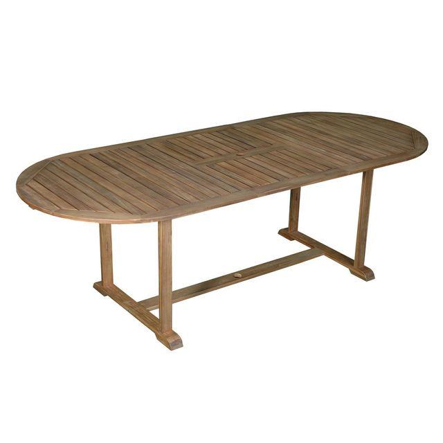Dlm - Table de jardin ovale extensible 180/237x100cm en acacia ...