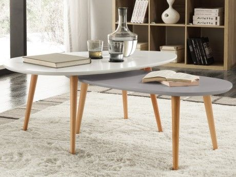 MARQUE GENERIQUE Tables basses gigognes PAMY - MDF laqué & hêtre massif - Blanc & gris perle