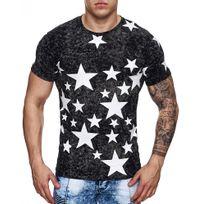 Monsieurmode - Tee-shirt moderne homme Tee shirt 2963 noir