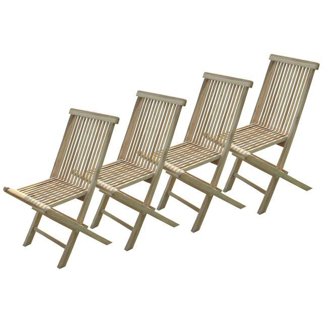 C&L Jardin Lot de 4 chaises pliantes Jalang en teck brut