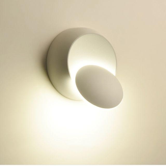 Applique Murale Led à Orientable Sur 360 Degrés Avec Lampe De Chevet Blanche Noire Créative Moderne Ronde Moderne Température Couleur Blanc Chaud