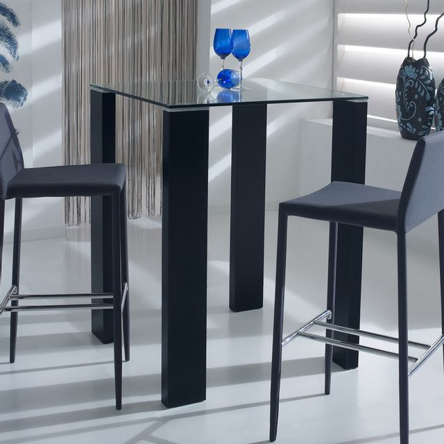 Marque Generique Table de bar carrée en bois et verre trempé Hauteur 103cm Aberdeen - Noir