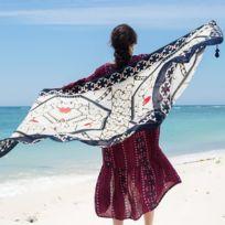 763dcf6407e8 Wewoo - Serviette de plage pur coton impression coeur motif Shaded Beach  soie écharpe, taille