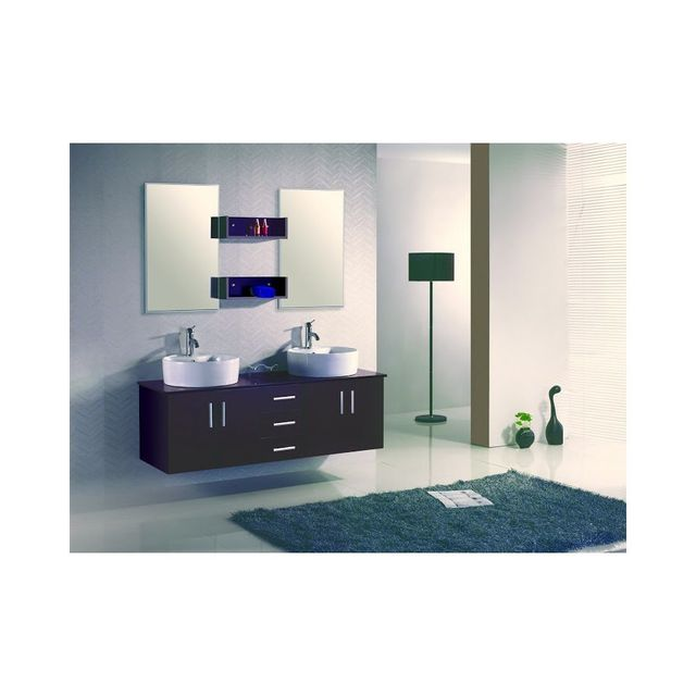 Rocambolesk Magnifique ensemble meuble salle de bain complet figo 2 vasque 2miroir