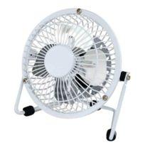 Générique - Mini Ventilateur Usb en métal Blanc diamètre 13cm - Pale diamètre 10cm