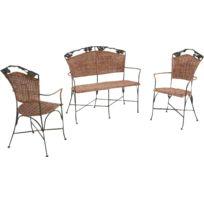 AUBRY GASPARD - Set 2 fauteuils + 1 banc vigne