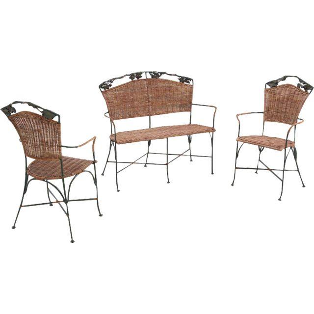 AUBRY GASPARD Set 2 fauteuils + 1 banc vigne