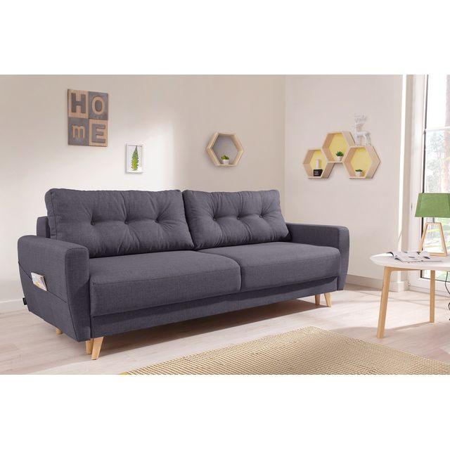 bobochic oslo canap 3 places convertible 215x90x90cm gris fonc achat vente canap s. Black Bedroom Furniture Sets. Home Design Ideas