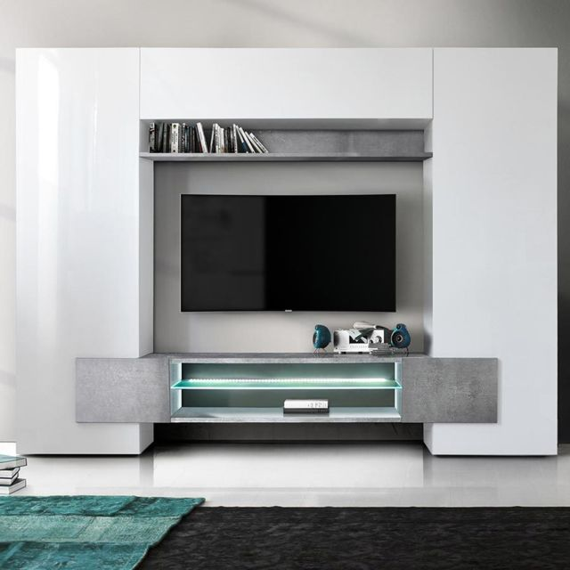 Sofamobili Meuble tv mural blanc laqué et effet béton Argos