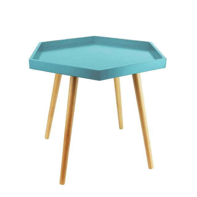 The Concept Factory Table basse bleue avec plateau hexagonal