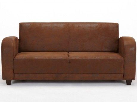 VENTE-UNIQUE Canapé 3 places club MISTY en microfibre aspect cuir vieilli