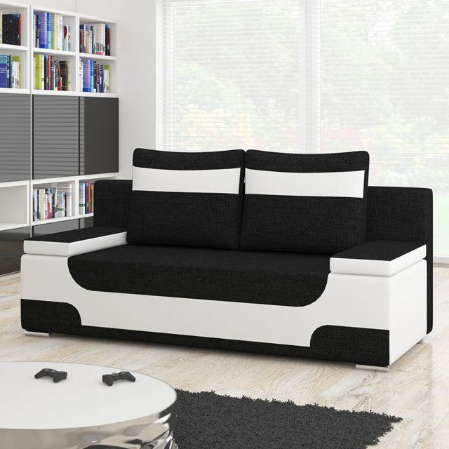 SOFAMOBILI Canapé 2 places convertible noir et blanc GULI 6
