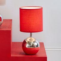 Corep - Lampe à poser pied boule en céramique effet métalisé hauteur 32cm Bille - Rouge