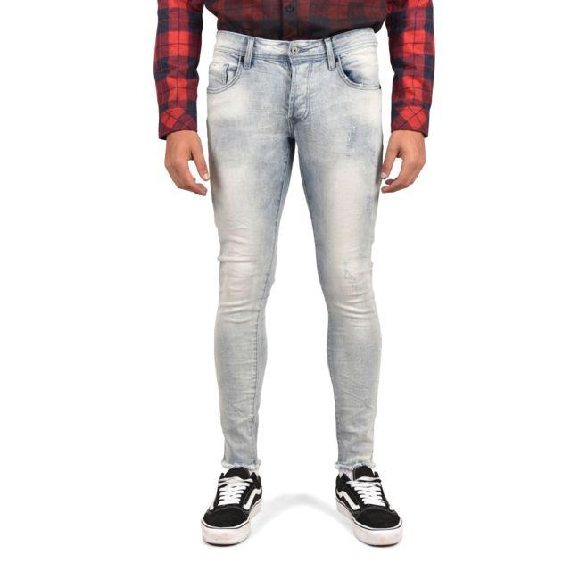 94371cebbdf9c Project X - Jean slim délavé Homme Paris 88169965, Taille  32, Couleur  Bleu  clair - pas cher Achat   Vente Jeans homme - RueDuCommerce