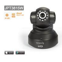 TENVIS - JPT3815W Caméra de surveillance HD 1280x720P H264 IP Wifi sans fil - Application téléphone & Notice en français - Détection mouvement Alerte - Vision Nocturne - Son bidirectionnel - Motorisée