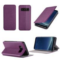 Xeptio - Etui Samsung Galaxy Note 8 violet Cuir Style avec stand - Housse flip cover coque de protection smartphone 2017 / 2018 Samsung Galaxy Note8 4G violette - Accessoires pochette case