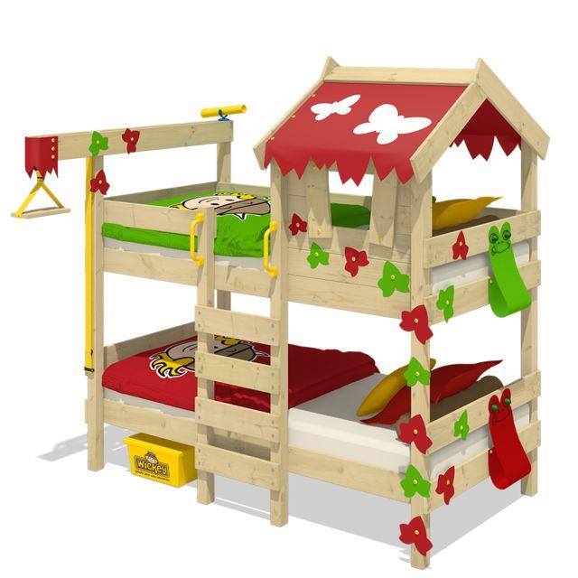 WICKEY Lit superposé CrAzY Ivy Lit en bois pour enfants - rouge- pomme