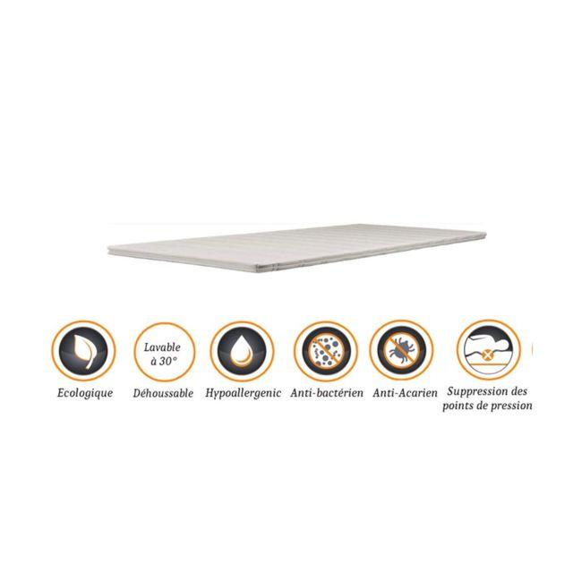 Nuits D'OR Surmatelas ergonomique Hyper Moelleux top Confort 70x190 x 5 cm Déhoussable Entretien Facile - Anallergique - à l'Aloe V