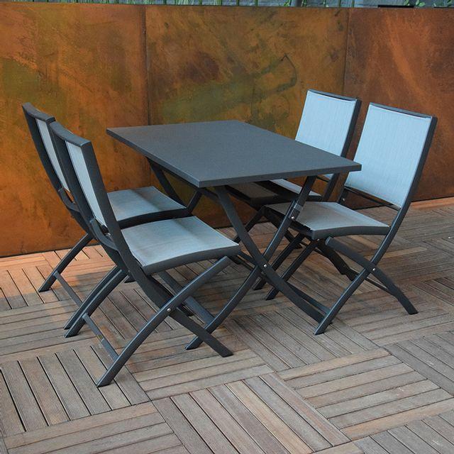 gecko jardin table pliante rectangulaire en alu anthracite 110 x 70 cm grace pas cher achat. Black Bedroom Furniture Sets. Home Design Ideas