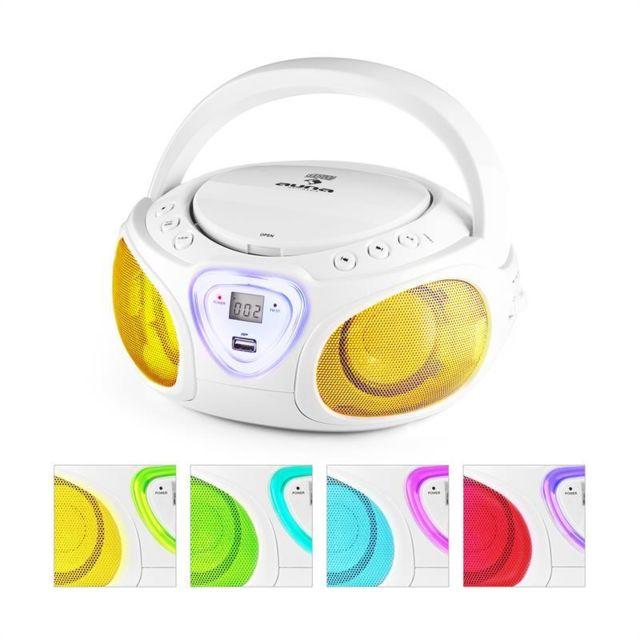 Roadie Boombox Cd Usb Mp3 Radio Am Fm Bluetooth 2 1 Jeu De Couleurs Led Blanc