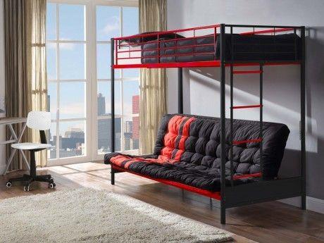 Lit mezzanine MODULO IV - 90x190cm - Avec banquette convertible - Noir et rouge