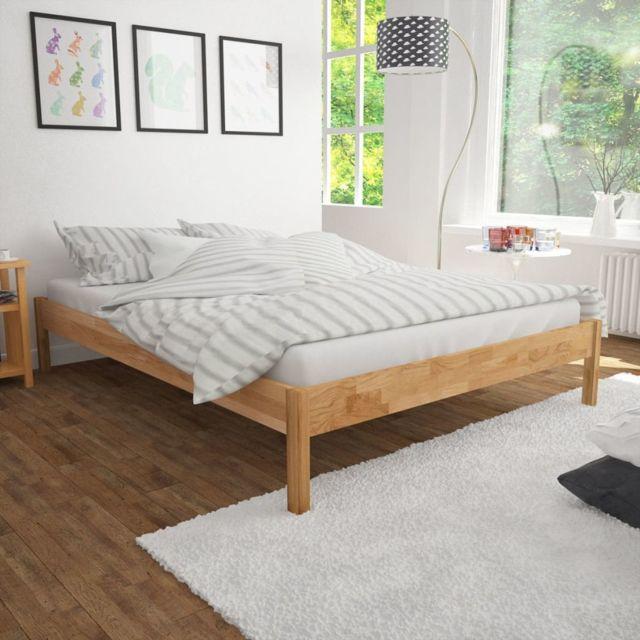 sans marque lit double avec matelas ch ne massif 140 x 200 cm voir description nccm x n acm. Black Bedroom Furniture Sets. Home Design Ideas