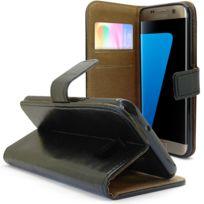 Caseink - Coque Housse Etui Folio Premium Samsung Galaxy S7 Edge Cuir Vachette italien véritable - Fabrication Europe, Stand + Portecarte Noir