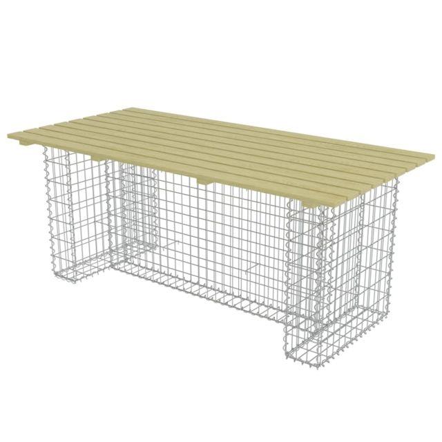 Icaverne - Tables de jardin gamme Table de jardin avec gabion d\'acier Pin  Fsc 180x90x74 cm