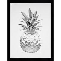 G&C Interiors - Cadre décoratif ananas métallique en noir et blanc en bois Mdf et verre Pania
