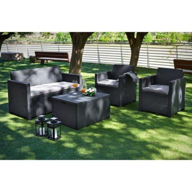 allibert merano coffre salon de jardin 4 places resine aspect rotin pas cher achat vente. Black Bedroom Furniture Sets. Home Design Ideas