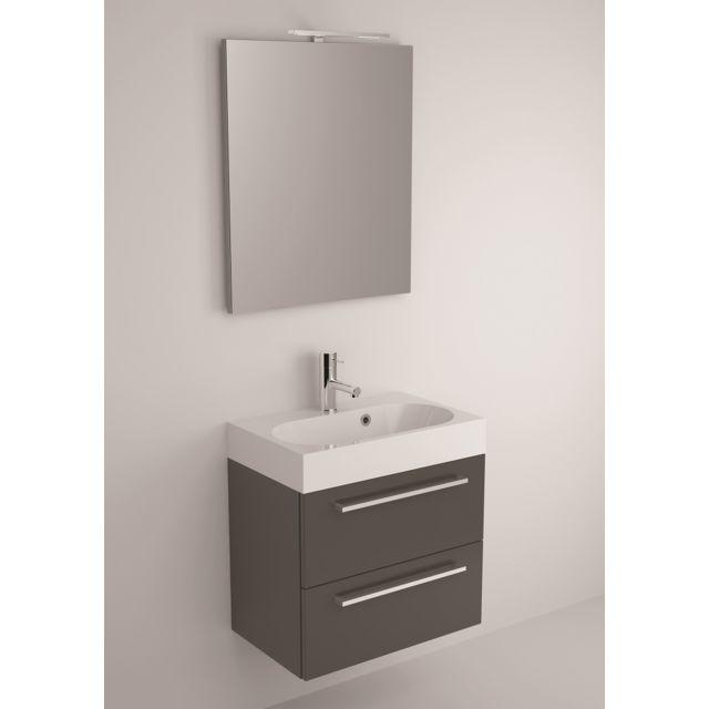 Riho Ensemble meuble & lavabo Slimline Set 60 en bois laqué brillant 60x38 H 60,5 cm