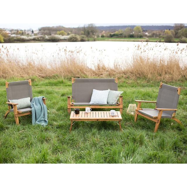 House Bay - Salon de jardin bas pliant en acacia Fsc et toile coton Masai Gris