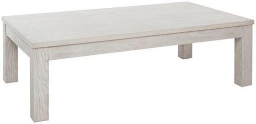Comforium Table basse rectangulaire et classique en bois massif 130 cm coloris chêne clair