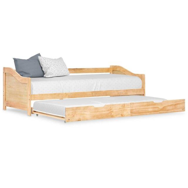 Vidaxl Cadre de lit extensible Bois de pin 90x200 cm