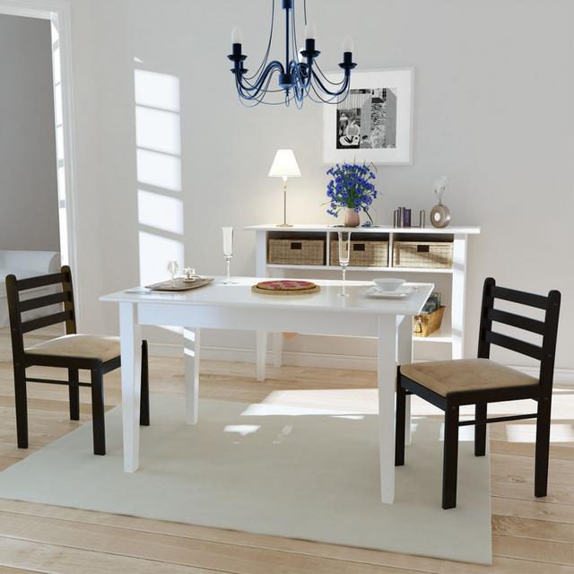 Vidaxl Set de 2 chaises marron en bois avec dossier carré