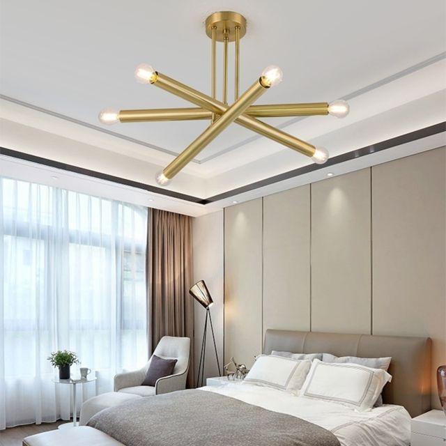Lampe Suspendue Luminaire Salon Lustre D Art Minimaliste Moderne De Salle A Manger Chambre A Coucher 6 Tetes Long