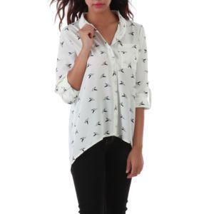 Lamodeuse - Chemise blanche imprimé oiseaux