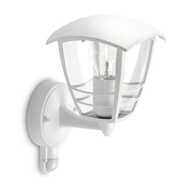 philips creek applique d 39 ext rieur avec d tecteur blanc h25cm luminaire d 39 ext rieur. Black Bedroom Furniture Sets. Home Design Ideas