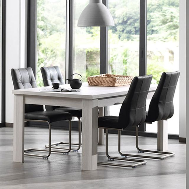 Nouvomeuble Table extensible contemporaine couleur chêne blanc Dalie