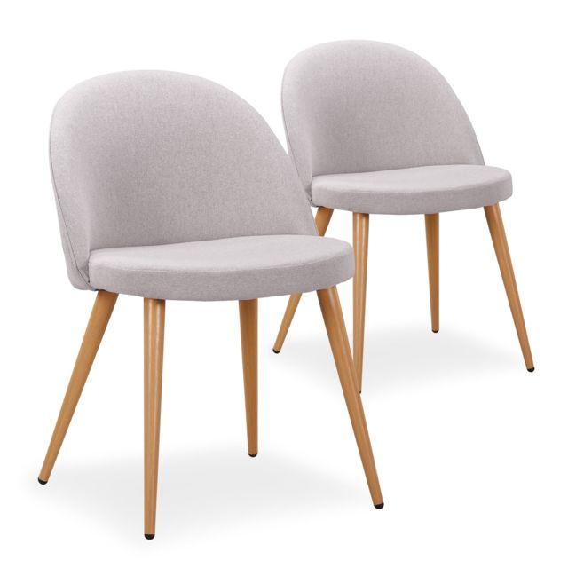 chaises Maury scandinaves de 2 tissu Gris Clair Lot qUMVpzS