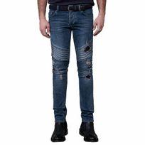 Deepend - Jean slim bleu délavé à empiècements usés à rayures en relief