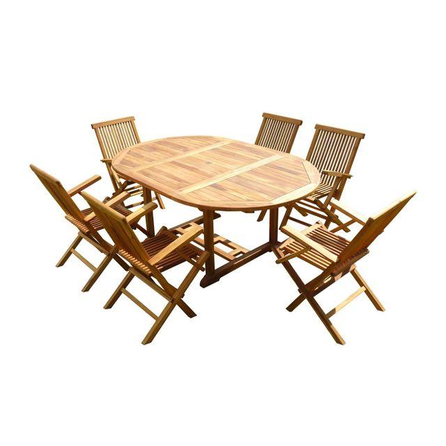 C&L Jardin Ensemble de jardin en teck huilé Sentak 6 fauteuils pliants Jumak