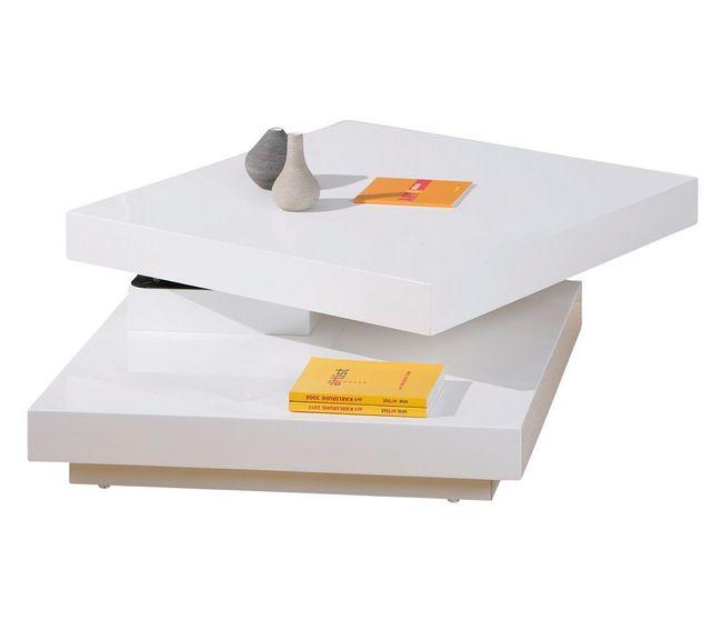 Comforium Table basse carrée avec plateaux pivotants coloris blanc