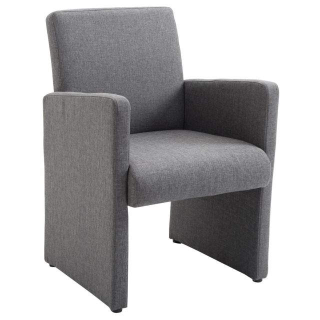 Fauteuil de salon confort TONY chaise de réception avec accoudoirs,  revêtement en tissu gris