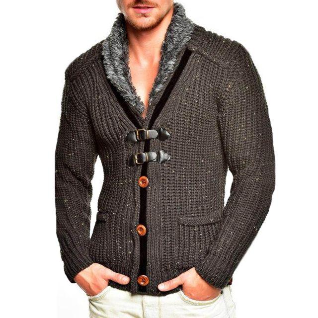 abe9cb2f0ba6 MONSIEURMODE - Cardigan veste pour homme Veste T418 gris fonce - pas ...