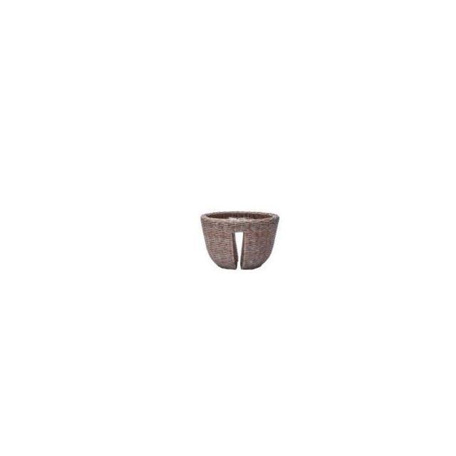 JARDINIERE - BAC A FLEUR Balconniere en résine tressée - 40 x 40 x 25 cm - Beige