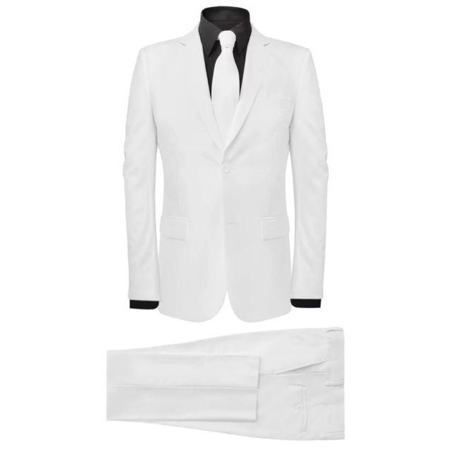 MARQUE GENERIQUE Admirable Vêtements famille Zagreb Costume pour hommes avec cravate 2 pièces Blanc Taille 48