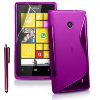 Vcomp - Housse Etui Coque souple silicone gel motif S-line pour Nokia Lumia 520/ 525/ 521 Rm-917 + stylet - Violet