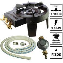 Providus - Pack réchaud gaz fonte 3 robinets de réglage 9.8 kW + Connectique gaz et détendeur Haute stabilité